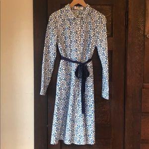 Boden Posy Shirt Dress, blue w/white hearts, sz 8R